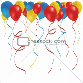 Beautiful color balloon in the air. Vector illustration.