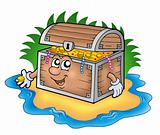 Cartoon treasure chest on island