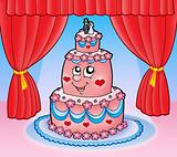 Cartoon wedding cake with curtains
