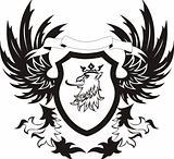 Grunge retro shield with griffon head