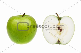 Green apple isolated over white