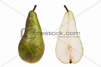 Green pear isolated over white