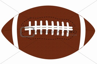 a brown leather football on white