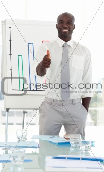 Business man presenting and being positive