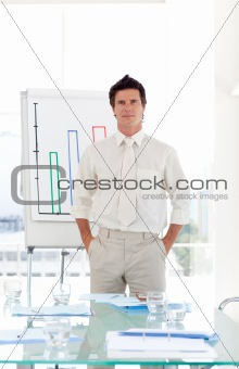 Senior Business man completing presentation