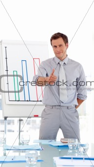 Attractive businessman giving presentation