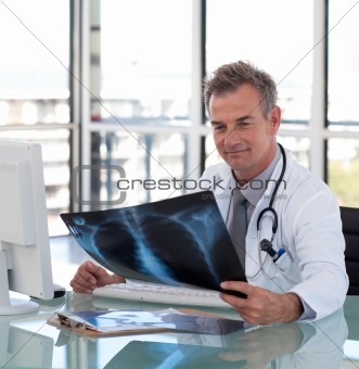 Senior Mature Doctor working