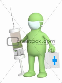 3d veterinary with a syringe