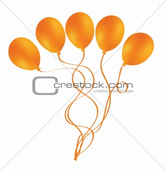 Beautiful orange balloon in the air.