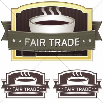 Fair trade coffee package or menu label