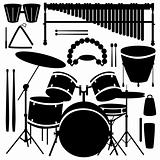 Percussion instrument vector silhouettes