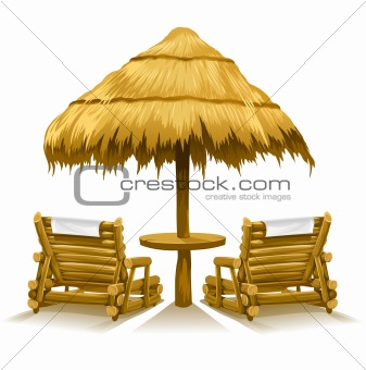 two beach deck-chairs under wooden umbrella