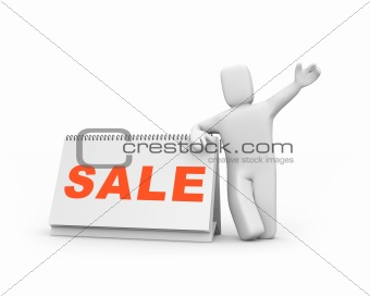 Time to sale. Person and calendar. Easy editable image