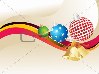 christmas ball, bells with stripes lines