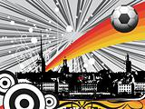retro cityscape background and soccer