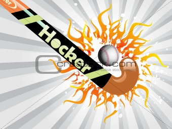 grunge and flame with hockey, ball