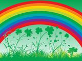 rainbow background with shamrock garden 17 march