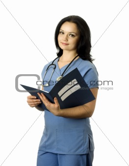 Beautiful female nurse with medical record