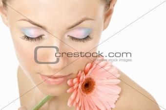 Inhaling flower aroma