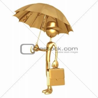 Businessman Carrying Umbrella