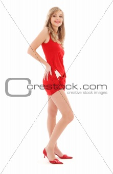lovely girl in red dress