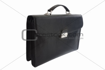 Black leather briefcase isolated on white background