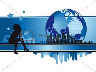 Cityscape, urban frame, fashion silhouette, globe