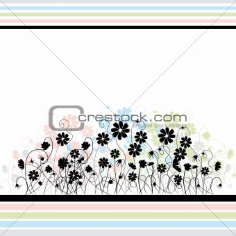 Abstract floral background, retro style