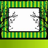 Tree silhouette, green background