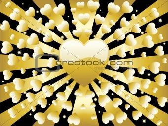 Background Golden Heart Full