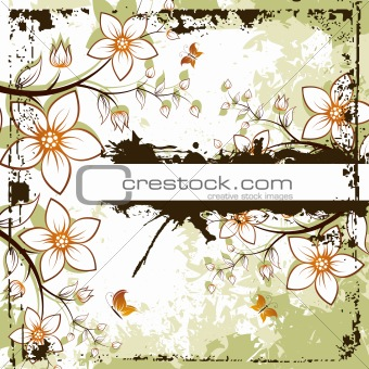 Grunge floral space for text