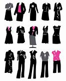Collection of women's business suits, office style, dress code