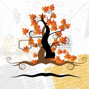 Old tree, grass, autumn, grunge background
