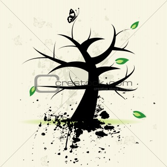Art tree, grunge background