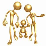 Gold Guy Family Walking Together