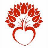 Abstract heart tree icon logo