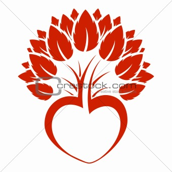 Abstract heart tree icon logo