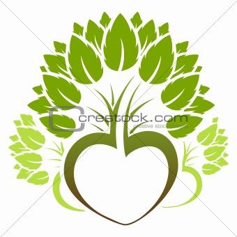 Abstract green tree icon logo