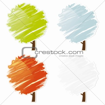 Four color abstract tree icon set