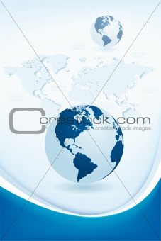 abstract background with Earth and world map