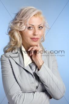 Positive blond woman
