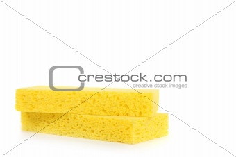 2 Yellow Sponges on White Background