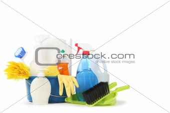 Household Cleaning Products in a Blue Bucket