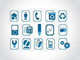 various web icons, blue