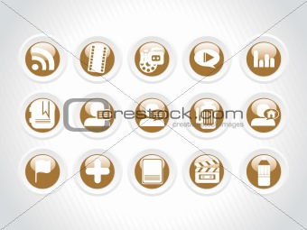vector web 2.0 style shiny icons, rounded series set 9