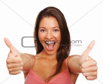 Portrait of a attractive young female gesturing over isolated background