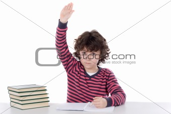 Adorable boy studying a over white background ask to speak