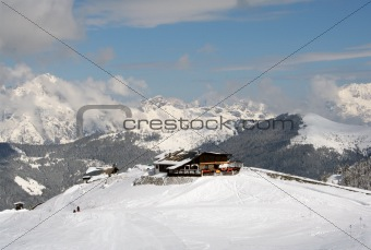Ski chalet on mountainside