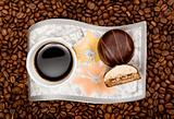 Coffee cup with sweets on beans background