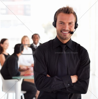 Young Businessman with headset on